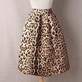 Runway 2016 summer tiger leopard print vintage falda de cintura alta para Las Mujeres Longitud de La Rodilla del vestido de Bola Plisado Midi Skater Saias faldas