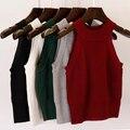 Nuevas mujeres de la moda de punto chaleco camis tank top sin mangas del suéter del diseño corto femenino sexy clothing jersey niñas de algodón tops