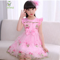 2017 New style children's clothing embroidered dress summer girls princess print party clothes pretty kids clothes wholesale