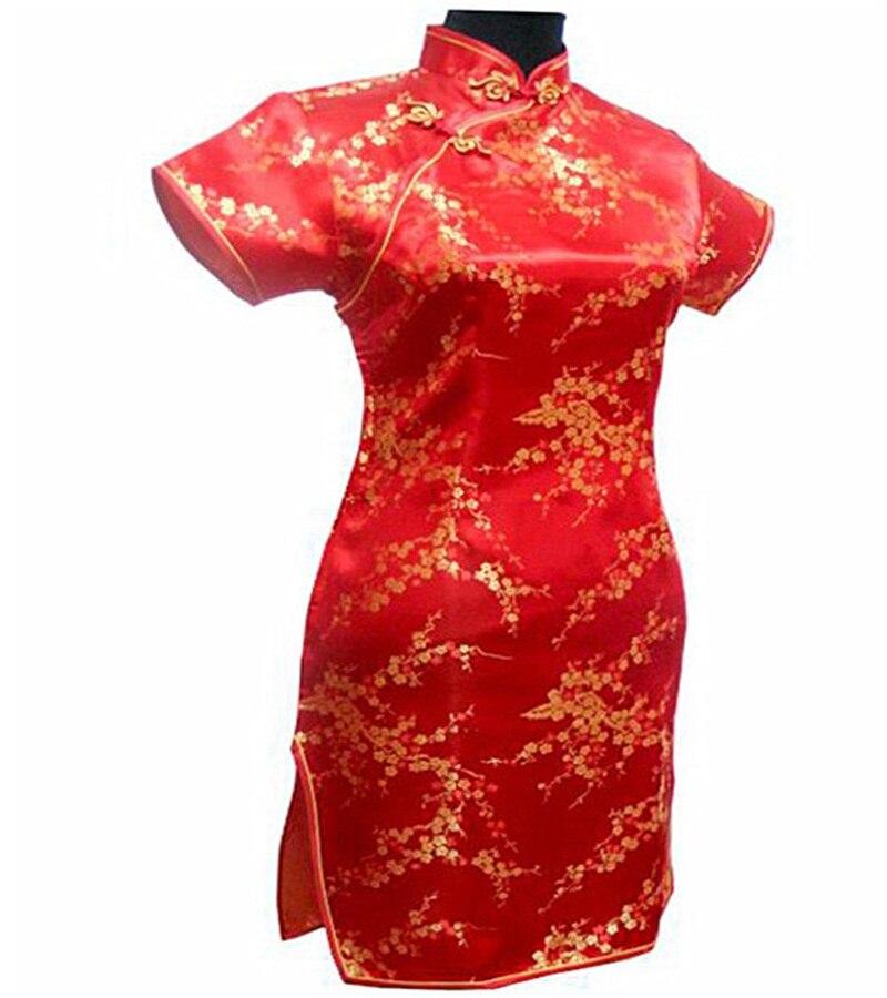 Ny Svart Rød Kinesisk Tradisjonell Kjole Kvinners Silke Cheongsam - Nasjonale klær - Bilde 5