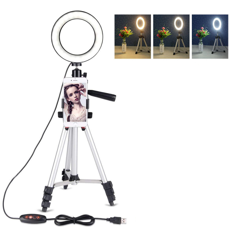 Photo Studio Phone Video LED Beauty Ring Light Photography Dimmable Ring Lamp+Tripod for Selfie/Live Show/Fill in Light