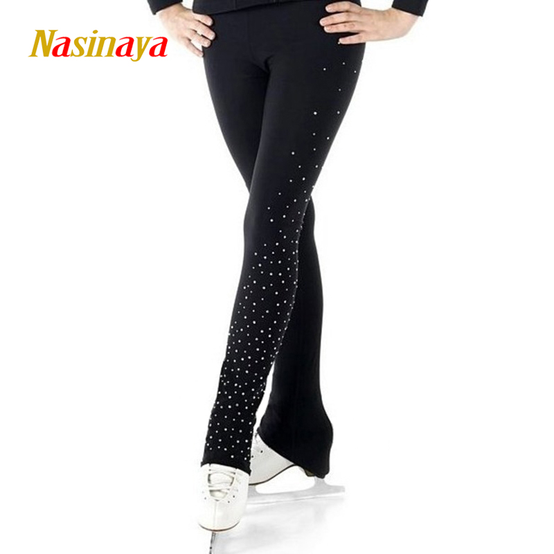 Customized Ice Figure Skating Costume Gymnastics Trousers Adult Child Competition Performance Pants Left Leg Rhinestone floral print wide leg trousers