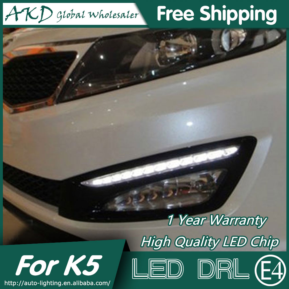 AKD Car Styling for Kia K5 DRL 2012-2013 Optima LED DRL LED Running Light Fog Light Parking Accessories akd car styling for kia sportage r drl 2014 new sportager led drl korea design led running light fog light parking accessories