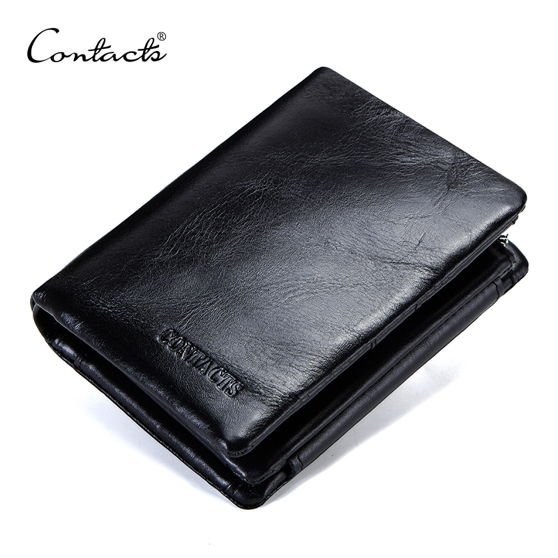 CONTACT'S Genuine Cowhide Leather Men Wallet Trifold Wallets Fashion Design Brand Purse ID Card Holder With Zipper Coin Pocket