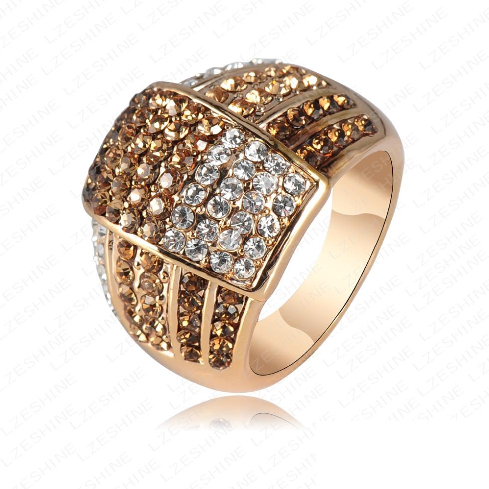 Trendy New Jewellery Gold-color Rings For Women Made With Genuine Element Austrian Crystal Engagement Rings Anel Ri-HQ0020