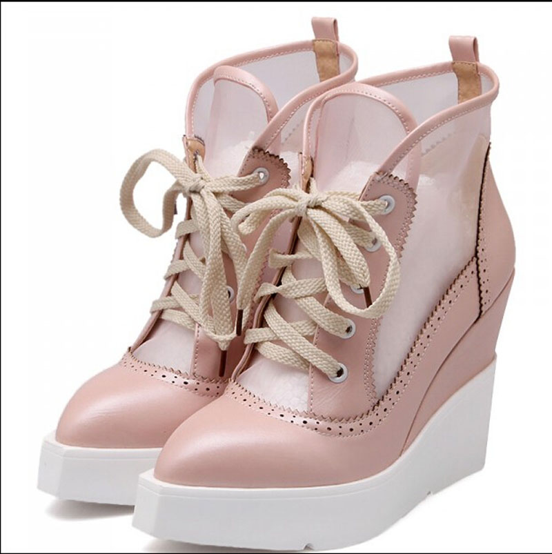 Nice Summer Mesh Punk Retro Wedge Women Sandals Pointed Toe Women Sandals Women Shoes Breathable Women Pump Sandals P5c86