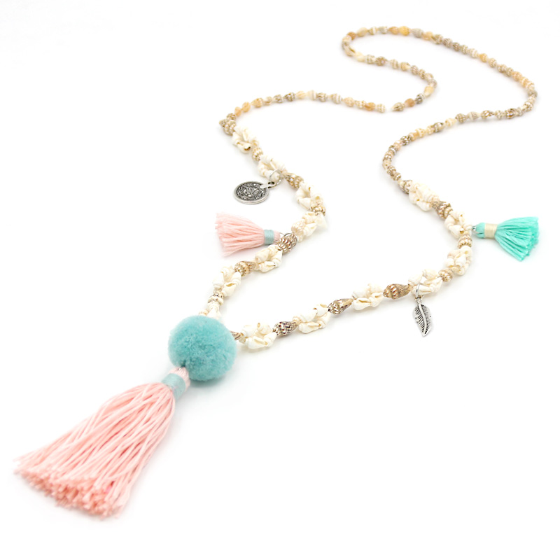 VONNOR Jewelry Women Statement Necklace Boho Beach Accessories Shell Beads Chain Tassel Pendant Long Necklace Female ethnic style filigree faux turquoise rhinestone feather chain tassel statement necklace for women
