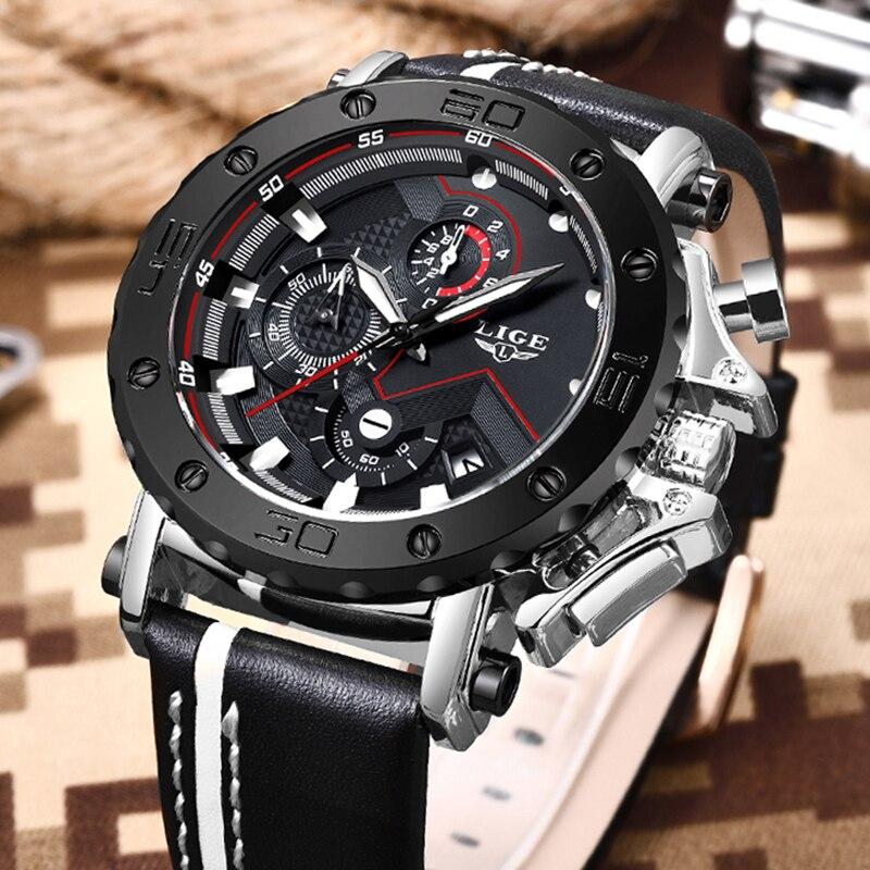 Saatler'ten Kuvars Saatler'de Yeni moda İzle erkekler LIGE üst marka spor saatler erkek kuvars saat adam rahat askeri su geçirmez kol saati Relogio Masculino'da  Grup 3