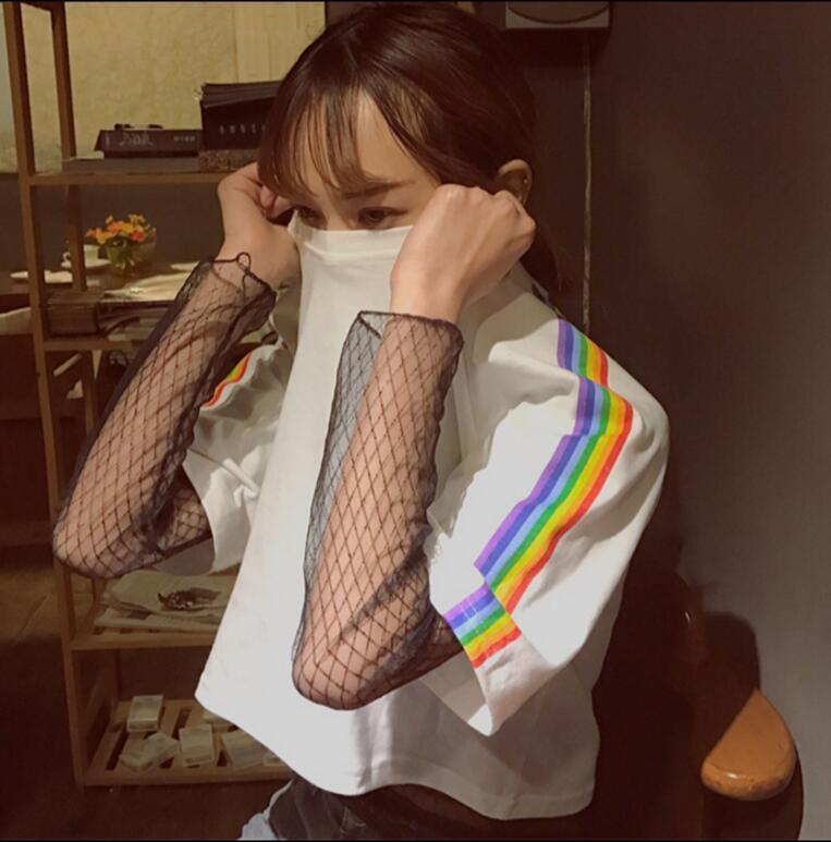 Женский летний Корейский студентов радуга печати короткий параграф подвергаются пупочной с коротким рукавом футболка