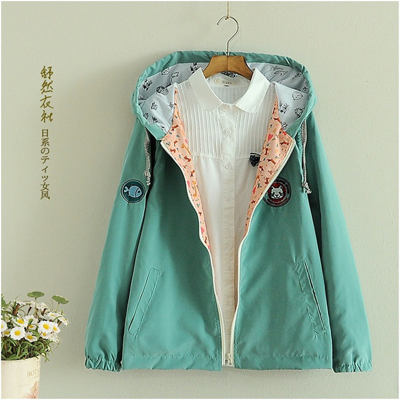 Women Cartoon Graffiti Coat Mori Girls Sided Wear Thin Hoody Pocket Zipper Cartoon Print Outwear Tops Women Bomber Basic Jacket