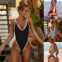 Summer Red White patchwork One Piece Swimsuit Sexy Thong Swimwear Women Bikinis Deep V Neck Bodysuit Monokini for women