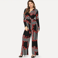 plus size Small floral stripe print sexy jumpsuit Boho black rompers women bandage jumpsuit 2019 Elegant chiffon summer jumpsuit