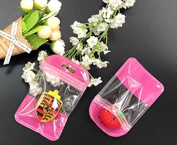 200Pcs/Lot color Self Seal Small Plastic Zip Lock Packing Bag With Hang Hole Poly Grocery Package ZipLock Pouch Bags