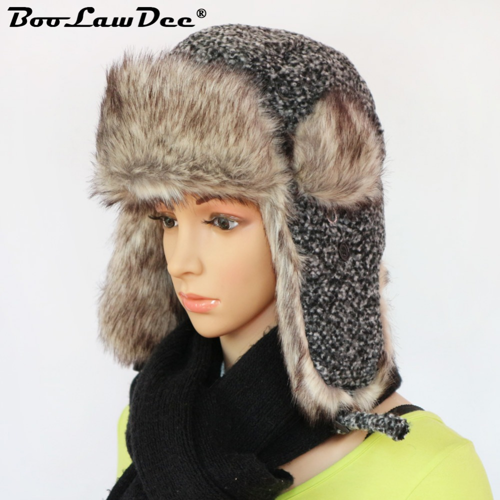 BooLawDee Russian women men winter woolen blend ushanka hat leisure thicken  fur earflap warm snow cap multifunction bomber M205 1c71eedd96bc