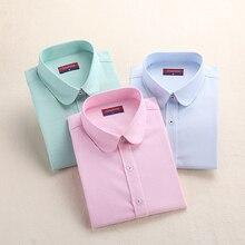 Женская блузка, модная женская оксфордская рубашка, Тонкая блузка с длинным рукавом, отложной воротник, простая однотонная саржевая весенняя и осенняя
