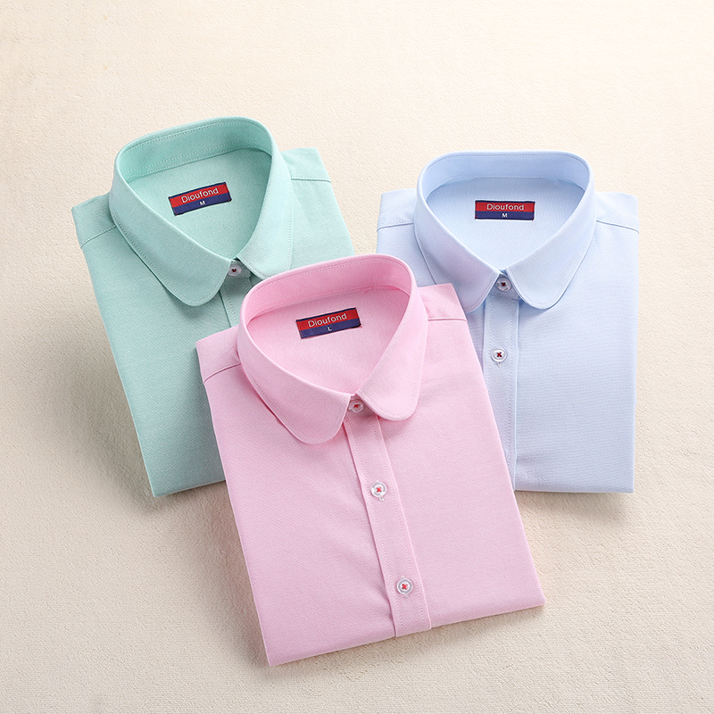 Women Blouse 2018 Fashion Women Oxford Shirt Slim Langermet Bluse Turn Down Collar Enkel Solid Color Twill Vår og Høst