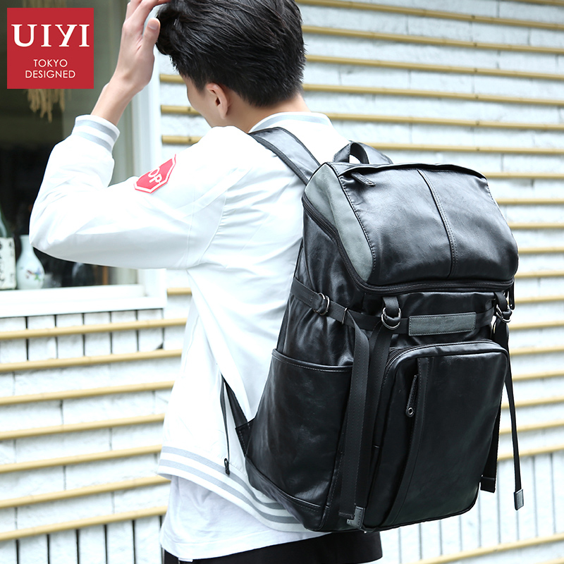 UIYI PU leather Men Backpack Schoolbag Casual backpacks for women Zipper Backpack Men Travel waterproof bags original leather fashionable pu leather backpack for men