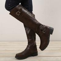 BORRUICE Woman Knee High Long Boots Belt Buckle Roman Women Boots 2018 Autumn Winter Round Toe Low Heel Shoes Plus Size 43 botas
