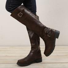 BORRUICE Woman Knee-High Long Boots Belt Buckle Roman Women 2018 Autumn Winter Round Toe Low Heel Shoes Plus Size 43 botas