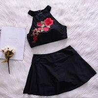 Brand New Summer Retro Floral Đen Sexy Bikini Swimwear Nữ Top cổ & Váy Đẩy Dưới Lên Cô Gái Áo Tắm Lady Quần Tắm Phù Hợp Với