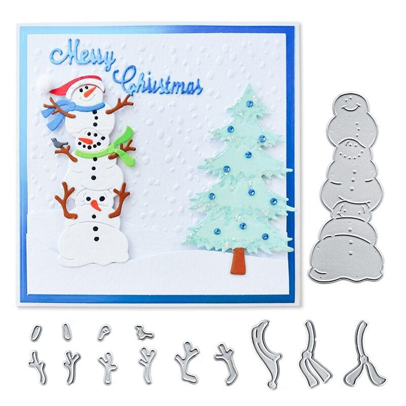 Julyarts 75*100mm Snowman Set Metal Cutting Dies Christmas for DIY Scrapbooking Album Craft