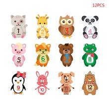 12 шт./компл. детские наклейки на каждый месяц веху лейбл с мультяшными животными стикеры по месяцам новорожденных душевая опора
