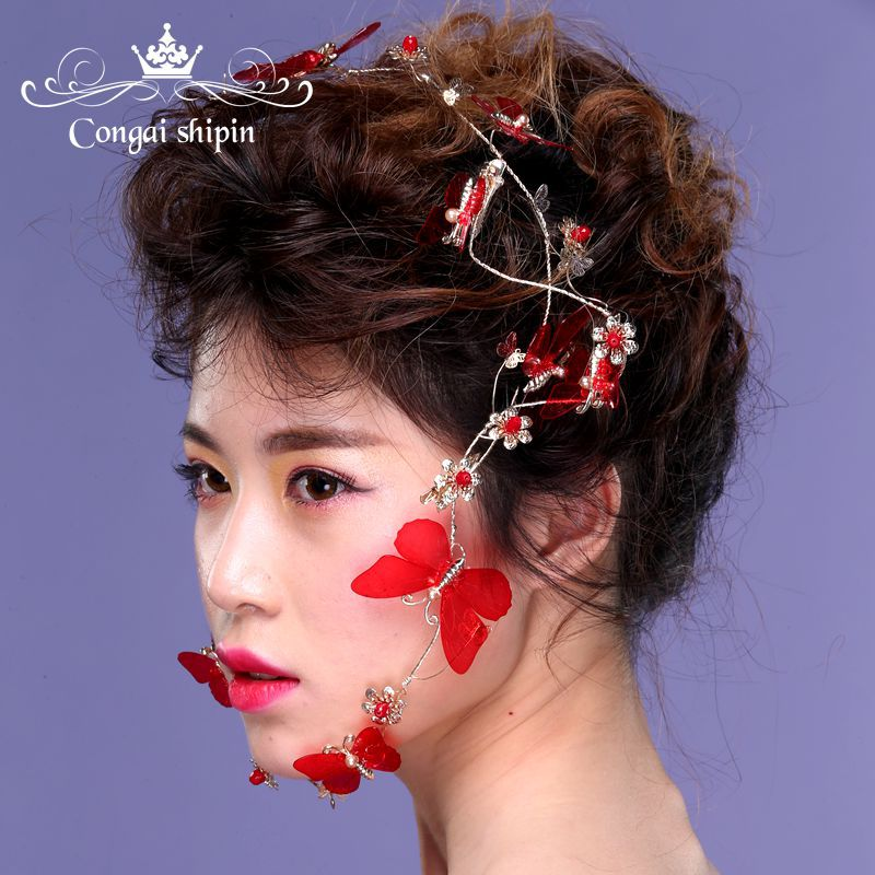 Red butterfly gold hoop bride headdress jewelry show catwalk wedding dress party tourism hair accessories
