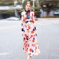 High End 2018 Nova Moda Primavera Vestido Europeu Desfile de Moda Luva Longa Das Mulheres Maxi Vestido Elegante Impressão Fantasia Vestidos de Férias