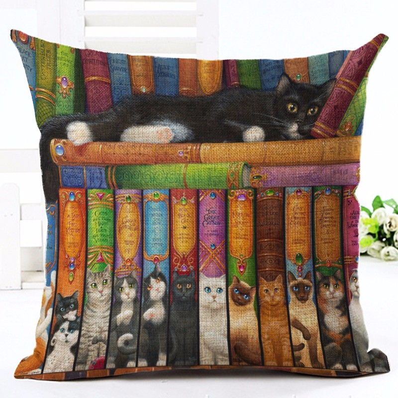 New European Style Cute Cat Party Cushion Customized Throw Pillow Home Decorative Cotton Linen Square Printing Cojines