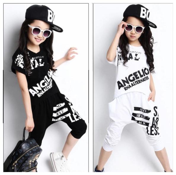 Meninas varejo Conjuntos de Roupas de Verão 2016 Meninos Meninas T-shirt de Manga Curta Top & Calças Harém 2 Pcs for Kids Meninas do Hip Hop traje