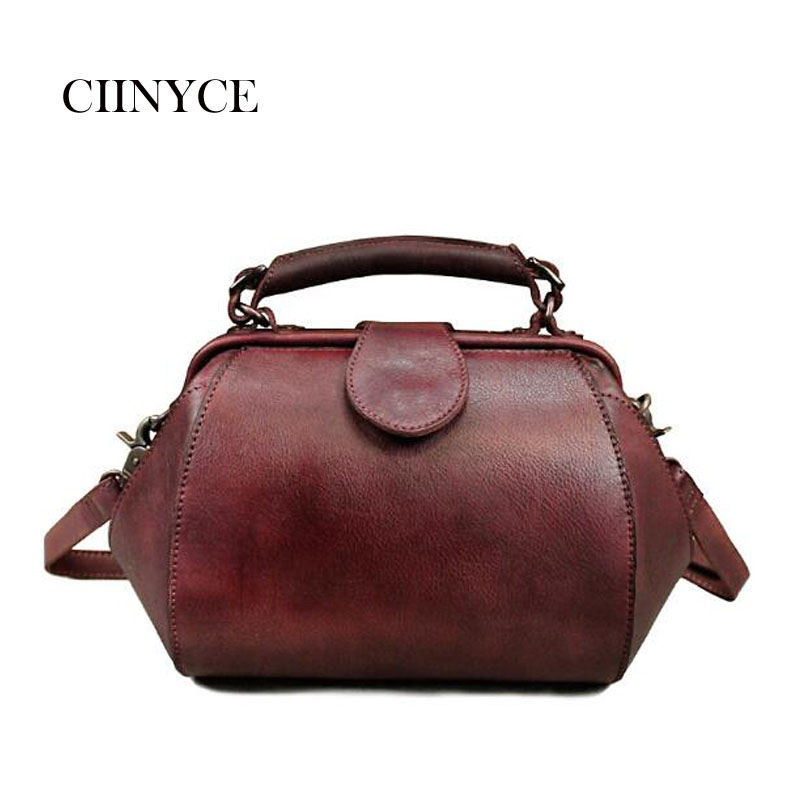 2018 New vintage Cow Leather Handbags retro Style Shoulder Red Khaki Solid Small Cross body Messenger Fashion Hobos Tote Bags
