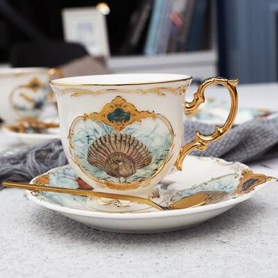 Новое поступление фарфоровая кофейная чашка набор джунглей животных кофейная чашка и блюдце Птица Обезьяна Стиль Золотая кость Китай чайная чашка - Цвет: 06