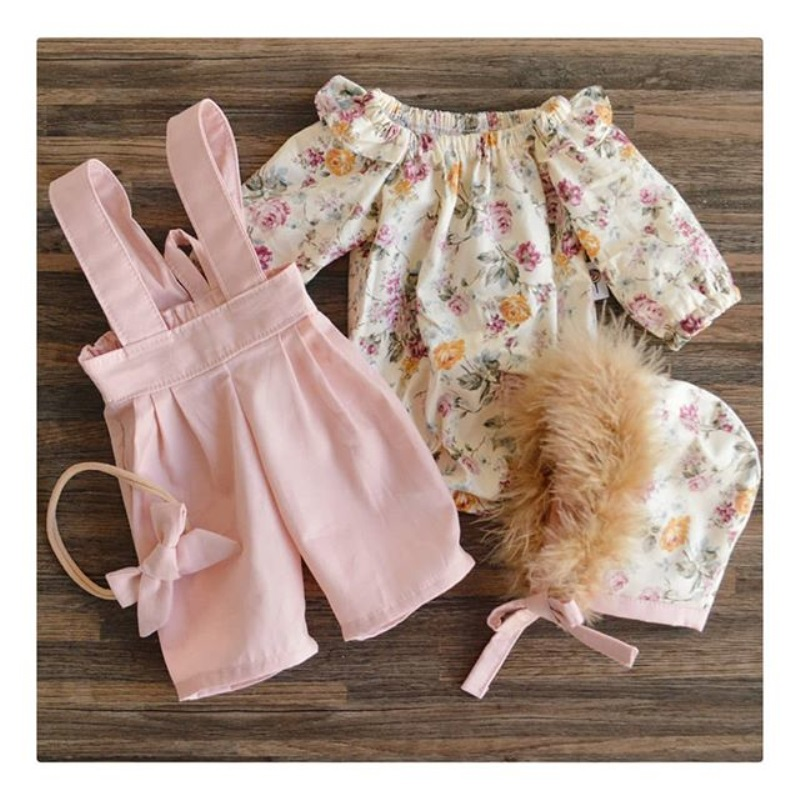 2PCS Toddler Kids Baby Girl Winter Clothes Floral Tops+Pants Overall Outfits sweet girl clothes set 6
