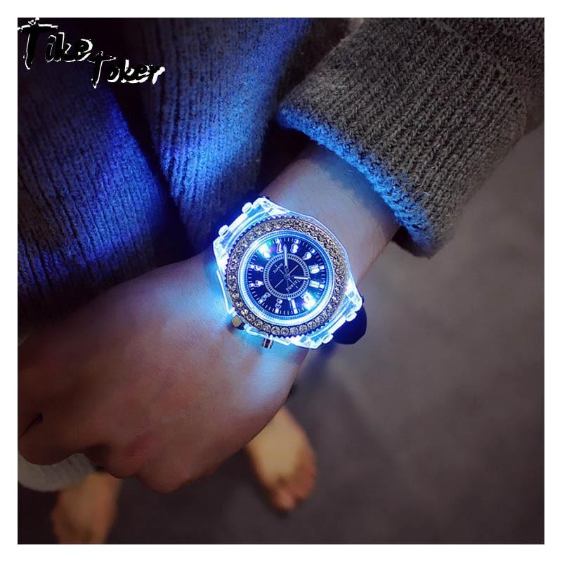 Ladies Fashion Watch Silicone LED Luminous Fashion Women's Colorful Men Sports WristWatches Men Watch Clocks Relogios Masculino