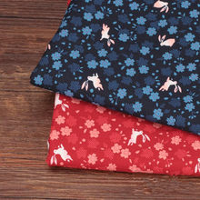 CF29 1/2 Yard Japanese Fabric Cherry Rabbit Printed Hot Stamping Fabric Quilting Patchwork Handmade Sewing DIY Cotton Fabirc(China)