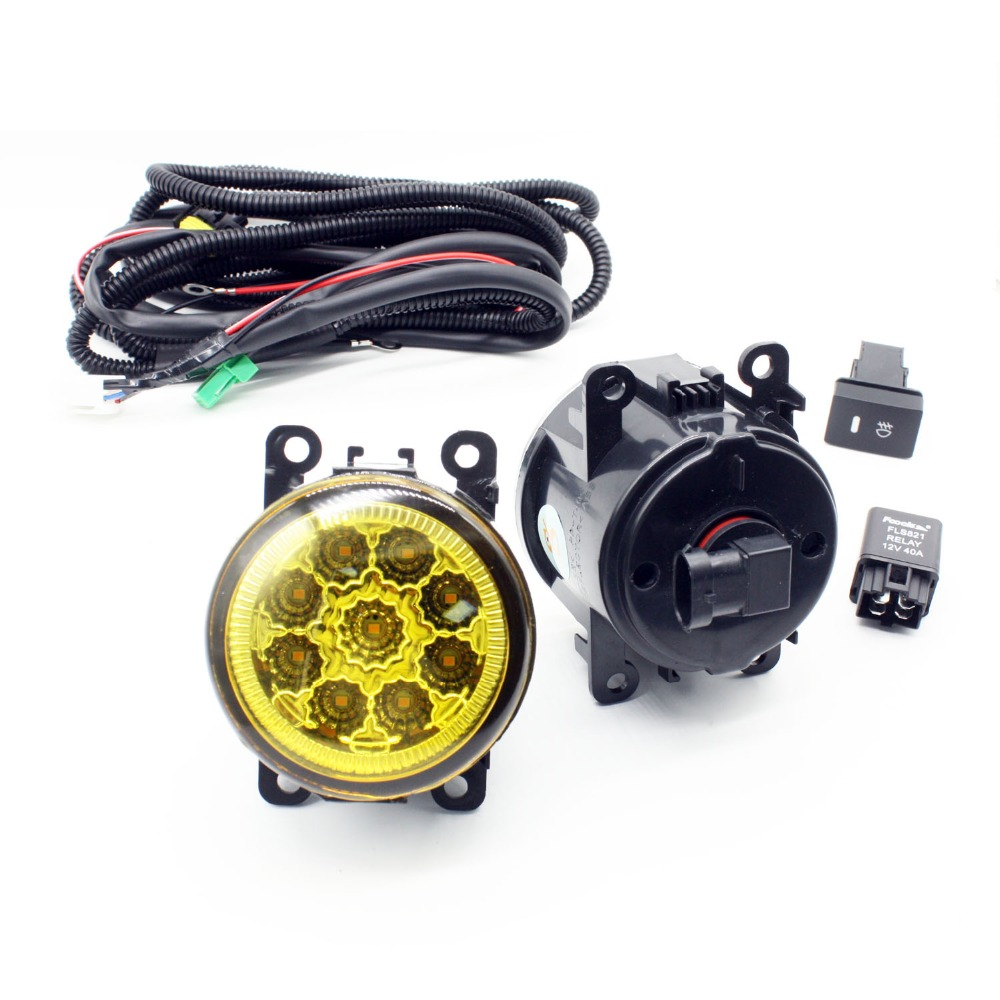 H11 Wiring Harness Sockets Wire Connector Switch + 2 Fog Lights DRL Front Bumper LED Lamp Yellow For Renault LOGAN Saloon LS for nissan note e11 mpv 2006 2015 h11 wiring harness sockets wire connector switch 2 fog lights drl front bumper led lamp