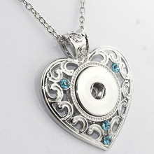 3 colors 2016 Newest Love Heart Pendants with crystals metal   snap button jewelry for women  NE231 (fit 18mm snaps) 031005