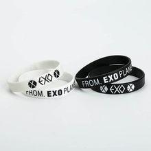 70cfe6aa3534 KPOP EXO álbum cumpleaños pulseras deporte silicona amistad pulsera  brazaletes moda accesorios para hombres mujeres