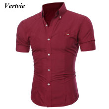 VERTVIE Men Shirts Casual Homme Cotton Short Sleeve Social Dress Shirts Men Hawaiian Camisa Masculina Male Clothes 2018 3XL(China)