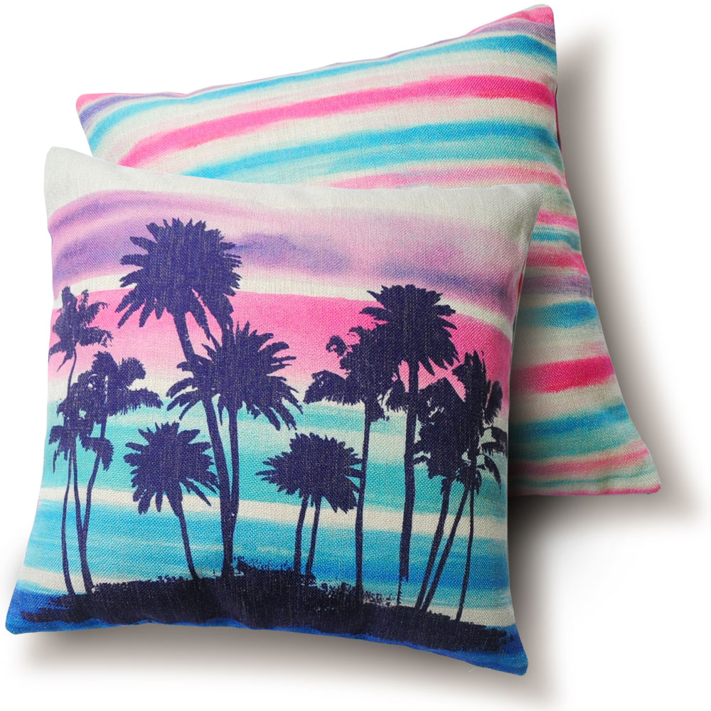 Double Sided Home Pillow Cushions Color Palm Tree Hawaii