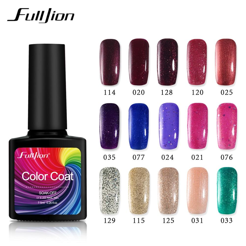 Fulljion UV Gel Nail Polish Gold Glitter Sequins Gel Paints Crystal Lacquer Shiny Soak off Nails Art Primer Bling Gel Manicure