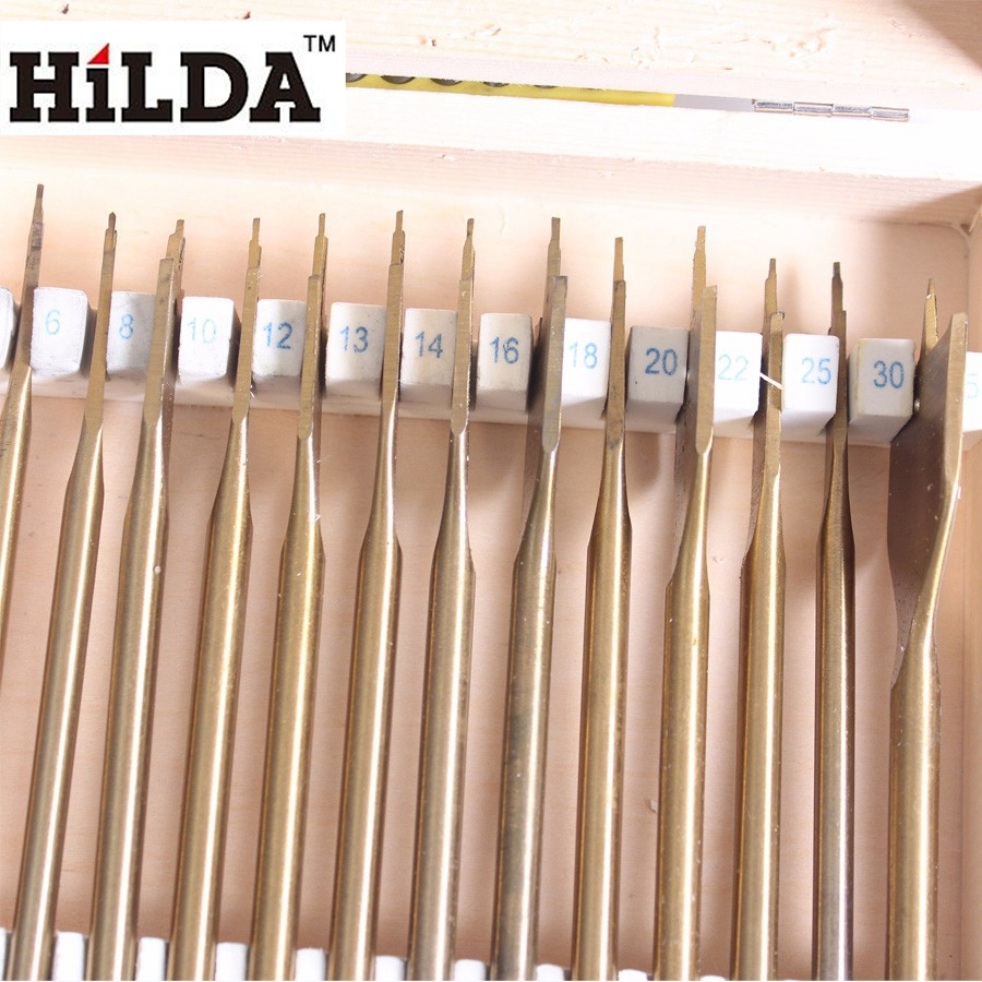 HILDA Flat Spade Drill Bits Set Titanium Coating Wood Boring Bit 1/4 Hex Shank Woodworking Power Tool Accessories сумка kate spade new york wkru2816 kate spade hanna