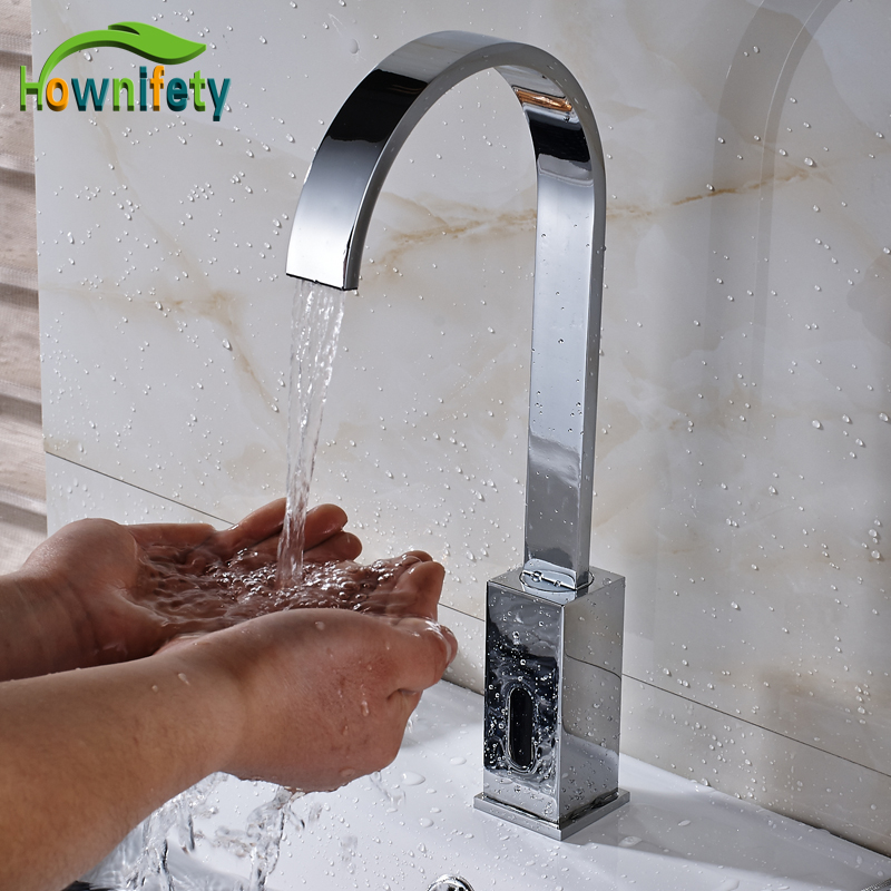 Chrome Bathroom Sense Faucet Automatic Hand Touch Tap Hot Cold Mixer Battery Power Mixer Tap free shipping chrome hot and cold water basin sense faucet single handle automatic hand touch bathroom mixer taps