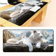 Yuzuoan White Lion and Tiger Comfort Large Mousepad Table  Mat Gaming Mousepad Size for 40x90CM Speed Version Gaming Mouse pads