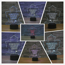 Newly Arrived Fashion NHL Ice Hockey Leafs LED Neon Light Sign 7colors changing Night Light Illusion Sports Fan Gifts Present