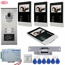 Home Phone Intercoms With 4 Monitors+4 Buttons Rfid IR Camera Video Door Phone Intercom System + Electric Strike Lock Video Door