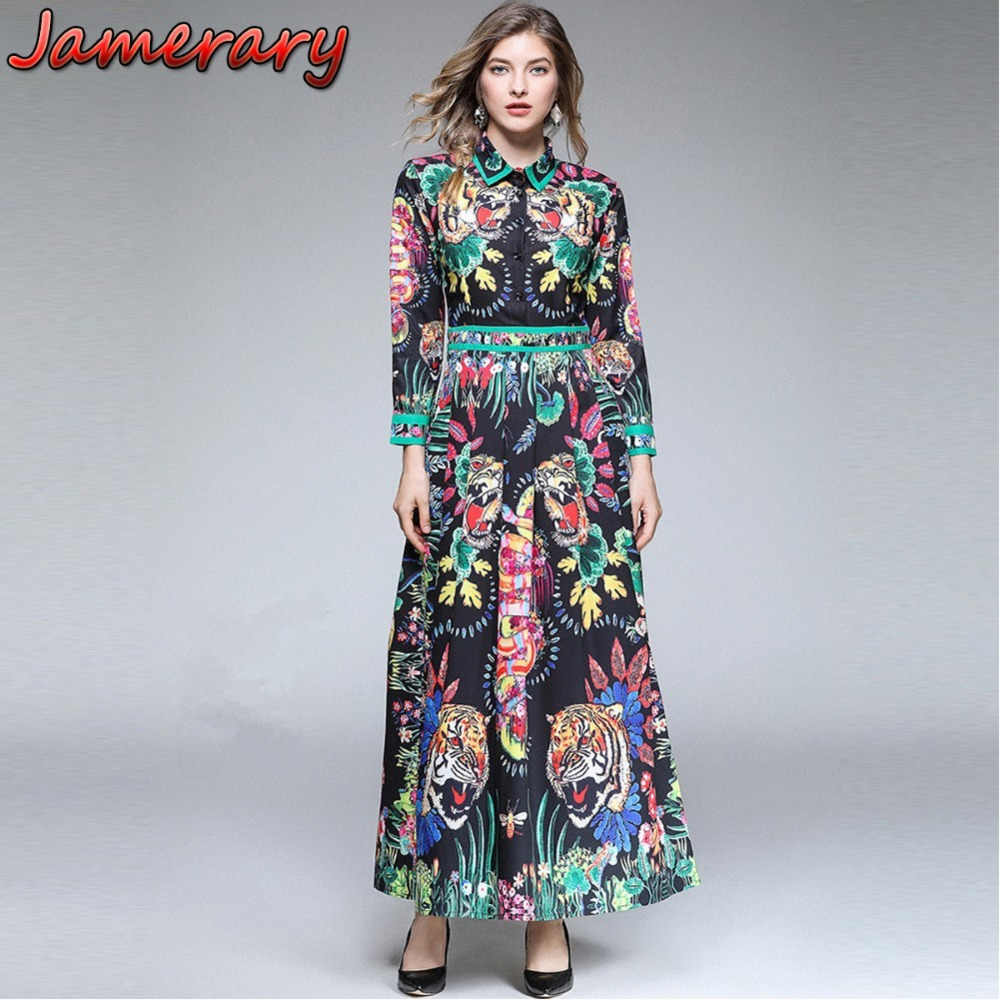 40667e574b11 Women Christmas 2018 Autumn Jurken Runway Vestidos Black Design Jungle  Snakes Bees Tiger Cat Flower Shirt