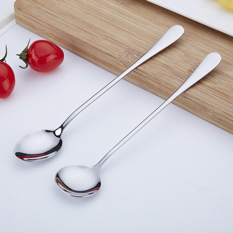1pcs Long Handle Stainless Steel Tea Coffee Spoon Ice Cream Dessert Scoop Cocktail Stirring Spoon Flatware Kitchen Accessories