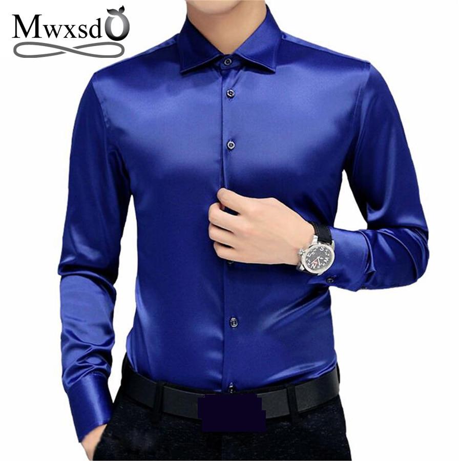 Mwxsd Brand Men's Tuxedo Dress Shirts Wedding Party Luxury Long Sleeve Shirt Silk Soft Shirt Men Mercerized Business Shirt