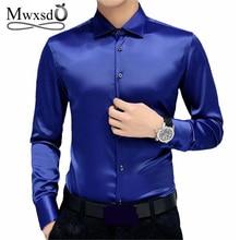 Mwxsd Merk Mannen Tuxedo Overhemden Wedding Party Luxe Lange Mouw Zijde Zacht Overhemd Mannen Gemerceriseerde Business Shirt